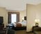 Comfort Suites Cicero - The standard room with a king size bed includes a sleeper sofa, 32-inch flat-screen TV, hair dryer, coffee maker, and desk.